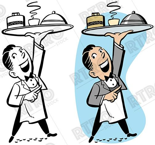 504x471 A Waiter Carrying A Tray Of Food Vintage Retro Clipart Clip Art