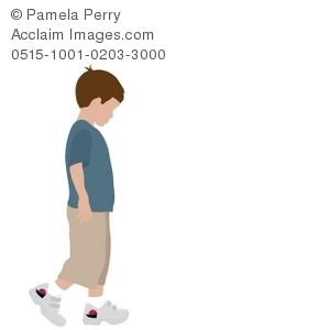 300x300 Clip Art Illustration Of A Little Boy Walking Alone