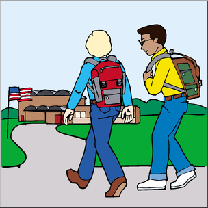 304x304 Clip Art Kids Walking To School 2 Color I Abcteach