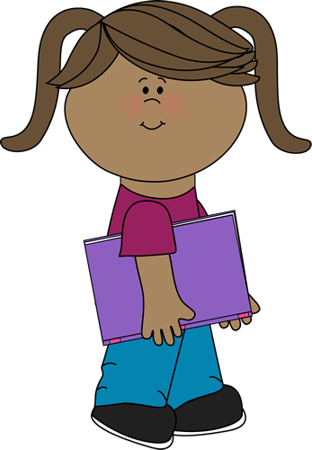 347x500 Girl Walking With A Book Clip Art