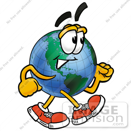 450x450 Clip Art Graphic Of A World Globe Cartoon Character Walking