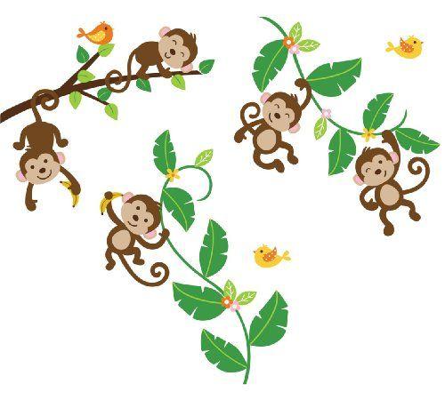 500x450 Monkeys Swinging On Vines Giant Peel Amp Stick Wall Art Sticker