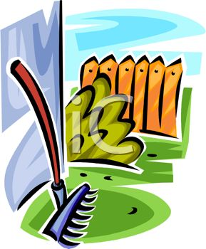 289x350 Picture Of A Rake Laying Against A Wall In A Vector Clip Art
