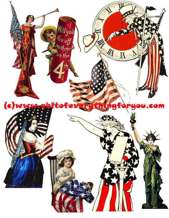 542x700 Vintage 4th Of July Patriotic Usa Flag Art Clipart Digital
