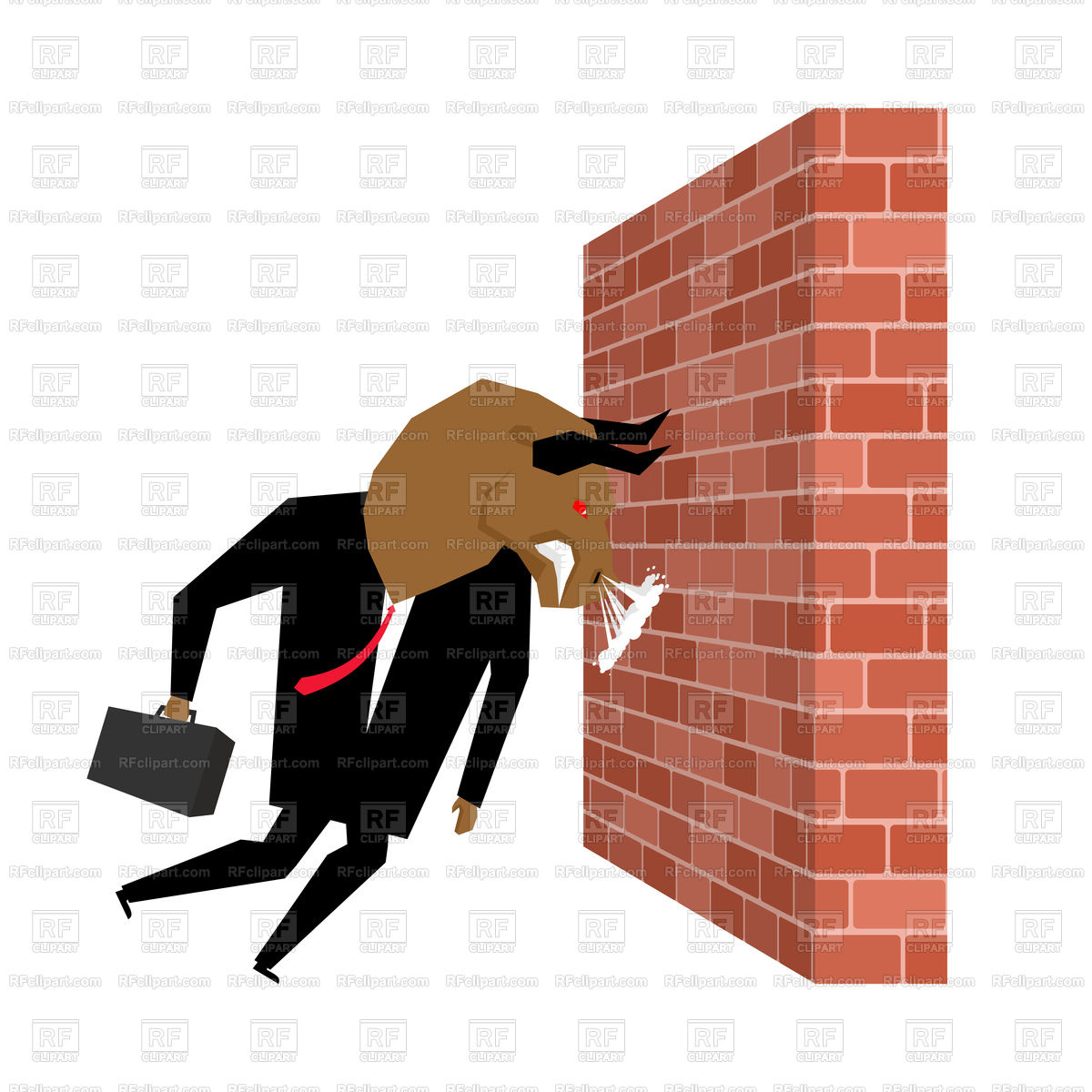 1200x1200 Businessman Bull Destroying Brick Wall Royalty Free Vector Clip