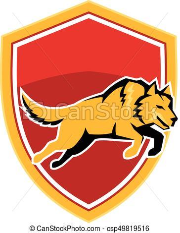 364x470 Wolf Jumping Crest Shield Retro. Illustration Of An Orange