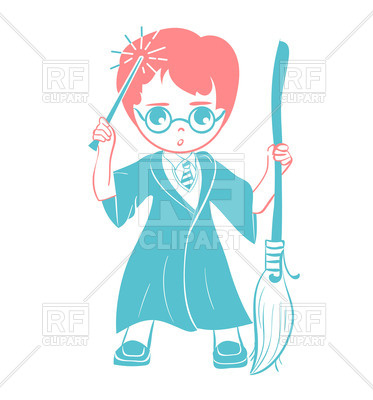373x400 Icon Of A Wizard Boy With Magic Wand And Broom Royalty Free Vector