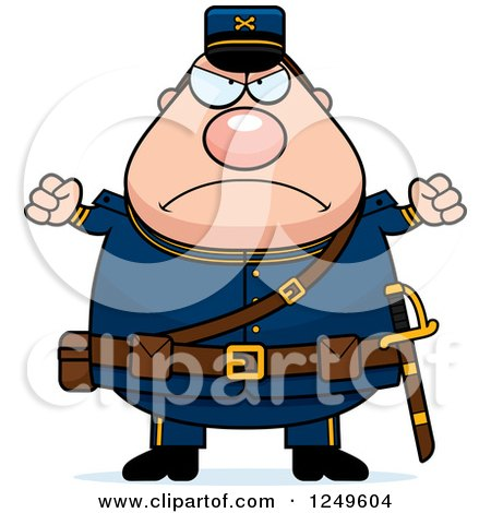 450x470 Clipart Of A Mad Chubby Civil War Union Soldier Man With Balled