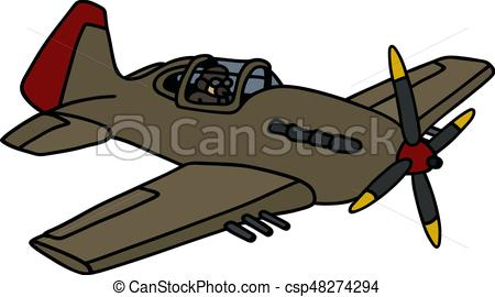 450x270 Classic Military Airplane. Hand Drawing Of A Classic Khaki Eps