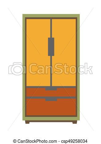 329x470 Simple Big Wardrobe. Vector Illustration Of Minimal Orange
