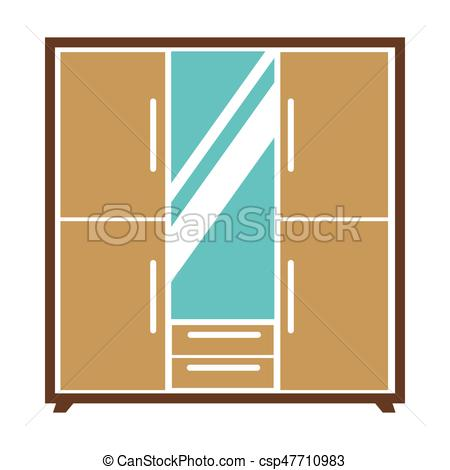 450x470 Big Wardrobe With Mirror. Vector Illustration Of The Classic