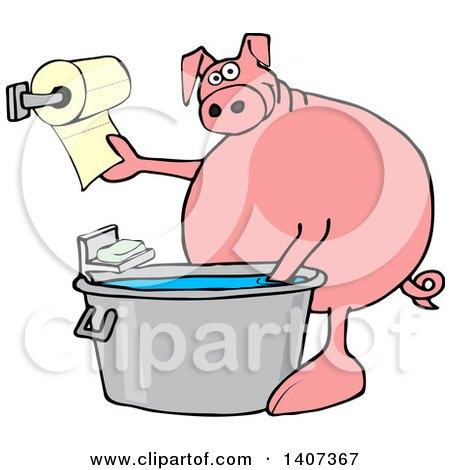 450x470 Big Fat Woman Taking A Hot Shower Clipart Illustration By Djart