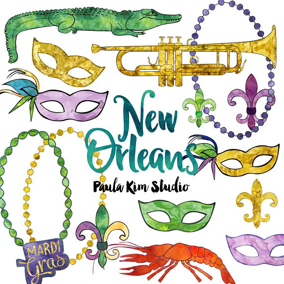 570x570 New Orleans Watercolor Mardi Gras Clip Art Commercial Use