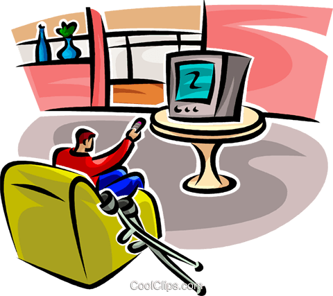480x427 Man Watching Tv With Crutches Royalty Free Vector Clip Art