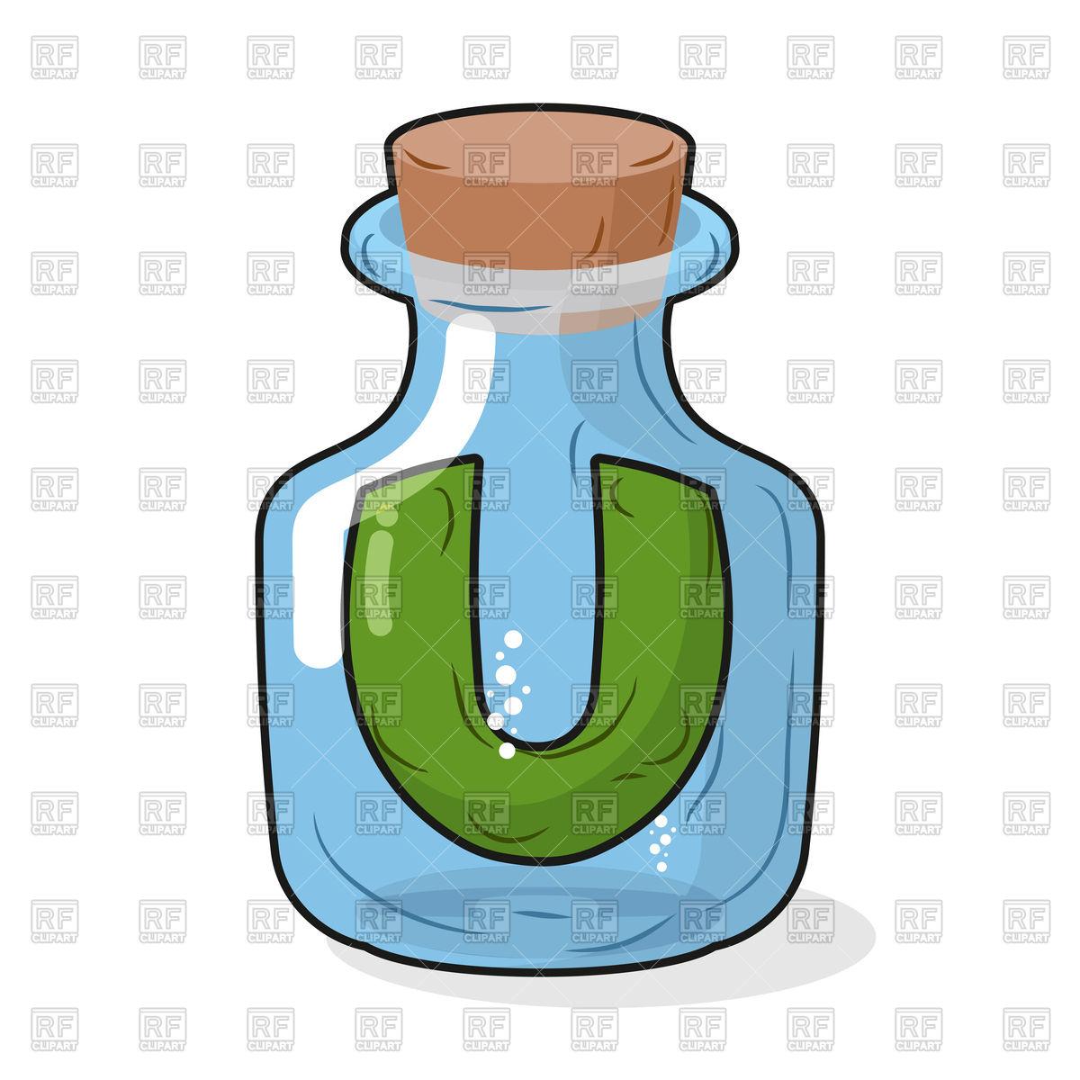 1200x1200 Letter U In Scientific Laboratory Bottle Royalty Free Vector Clip