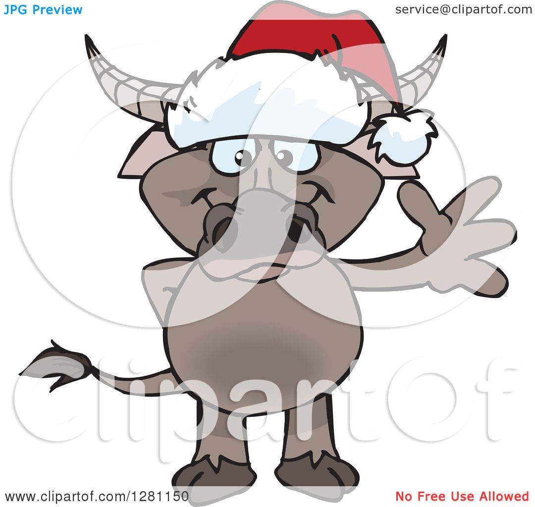 1080x1024 Clipart Of A Friendly Waving Buffalo Wearing A Christmas Santa Hat