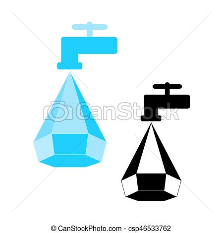 450x470 Water Conservation Logo, Water Droplet Icon And Tap. Logo Clip