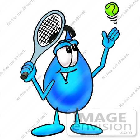 450x450 Clip Art Graphic Of A Blue Waterdrop Or Tear Character Preparing