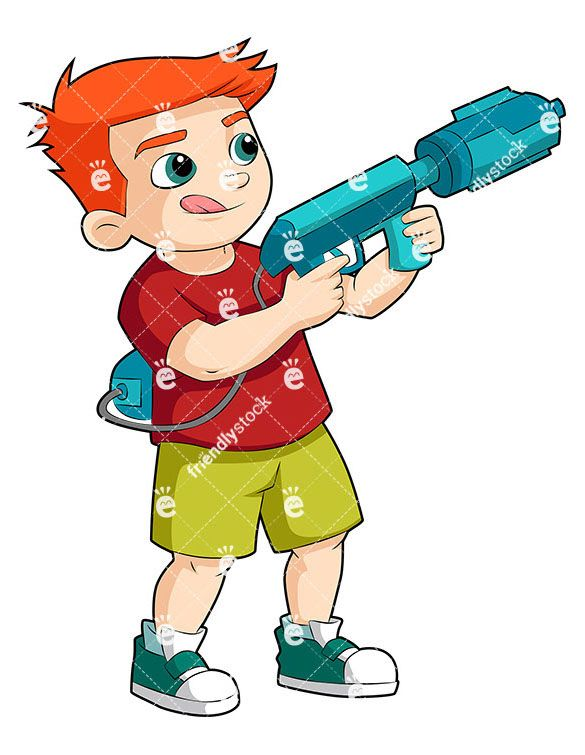 585x755 Boy Playing With Water Gun Cartoon Vector Clipart