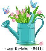 150x165 56361 Clip Art Illustration Of Butterflies Landing On Pink Tulips