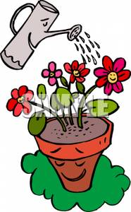 186x300 Clip Art Image A Watering Can Watering A Flower Pot