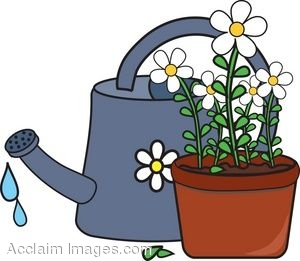 300x261 Clip Art Of Potted Daisies And A Watering Can