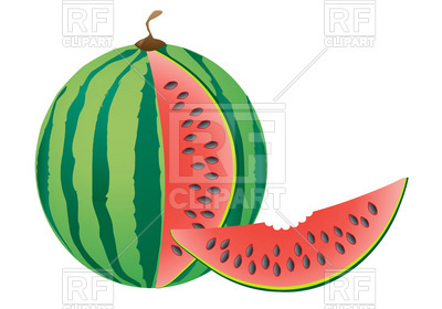 400x280 Watermelon Slice With Bite Missing Royalty Free Vector Clip Art