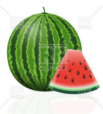 362x400 Watermelon With Triangle Slice Royalty Free Vector Clip Art Image