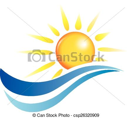450x401 Sun And Water Waves, Vector Design Elements Vector Clipart