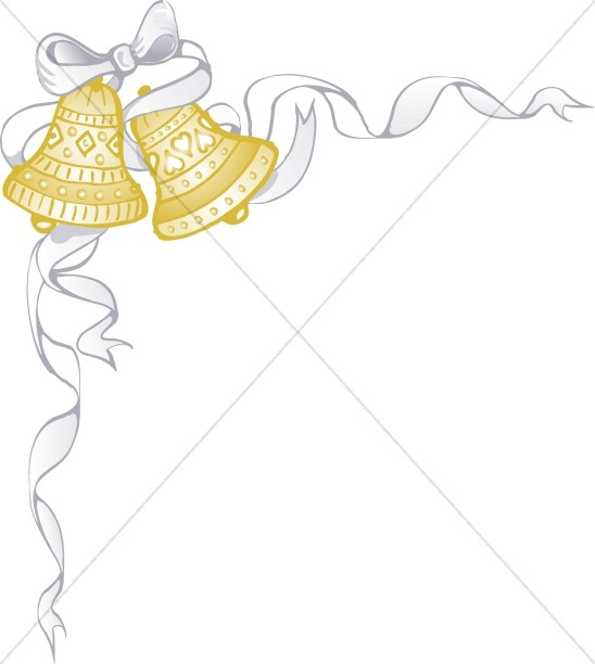 548x612 White Ribbon Wraps Around Golden Marriage Bells Christian