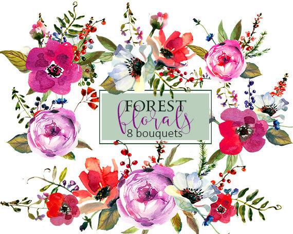 570x456 Purple Watercolor Flowers Clipart Set Wedding Floral Bouquets