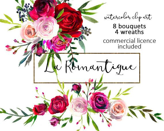 570x456 Watercolor Floral Clipart Red Purple Pink Burgundy Roses Peonies