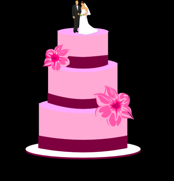 558x580 Wedding Cake With Bride And Groom Clip Art