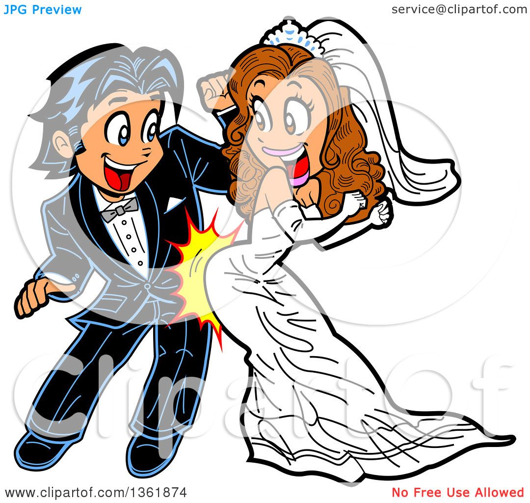 1080x1024 Clipart Of A Cartoon Happy Wedding Couple Dancing And Grinding