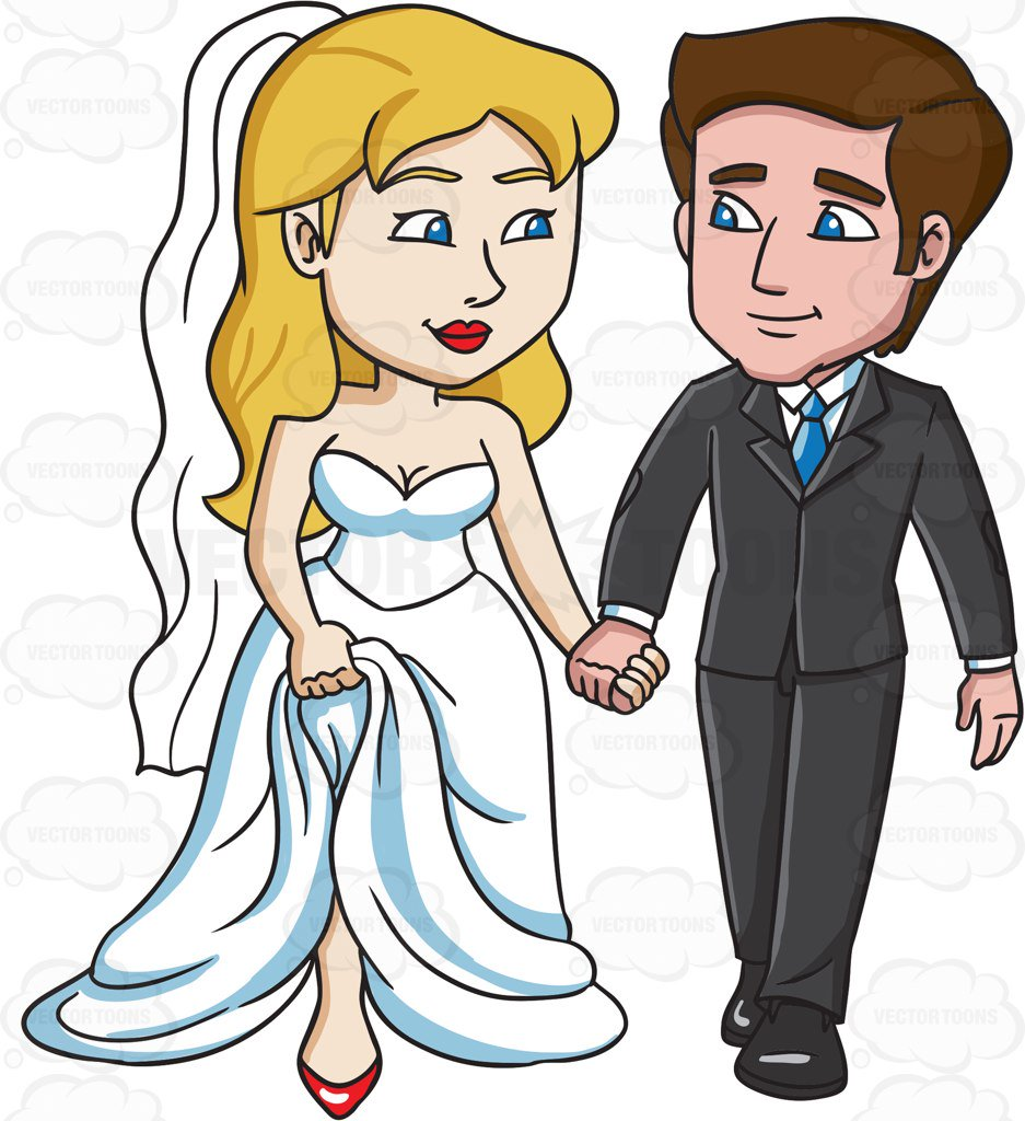 937x1024 A Married Couple Holding Hands Cartoon Clipart Vector Toons