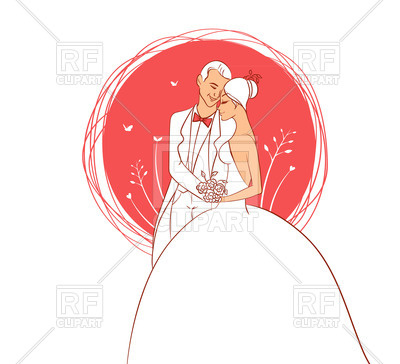 400x364 Wedding Couple On Red Background Royalty Free Vector Clip Art