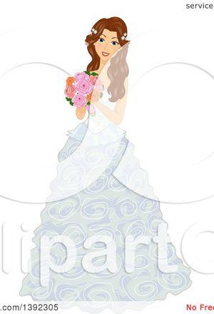 300x440 Wedding Dress Digital Vector Clip Art Wedding Gown Clipart