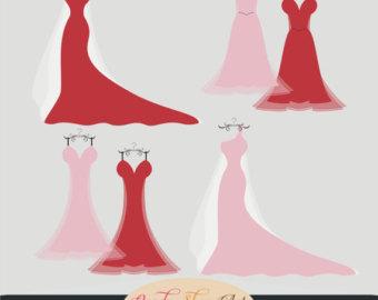 340x270 White Wedding Dresses, Digital Clip Art Set, Bride, Bridal Clipart