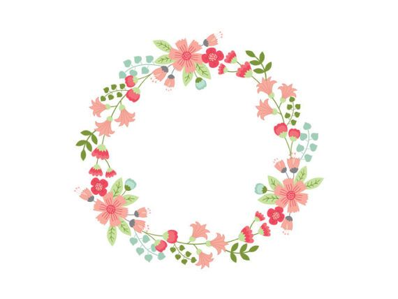 570x428 Floral Wreath Clipart