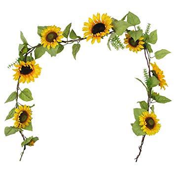 355x355 6' Elegant Silk Sunflowers Garland Bridal Wedding