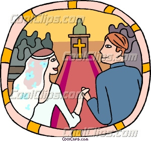 300x279 Marriage Couple Going Down The Aisle Clip Art
