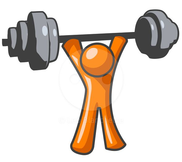 590x527 Clipart Illustration Of Orange Man Lifting Weights Exercising