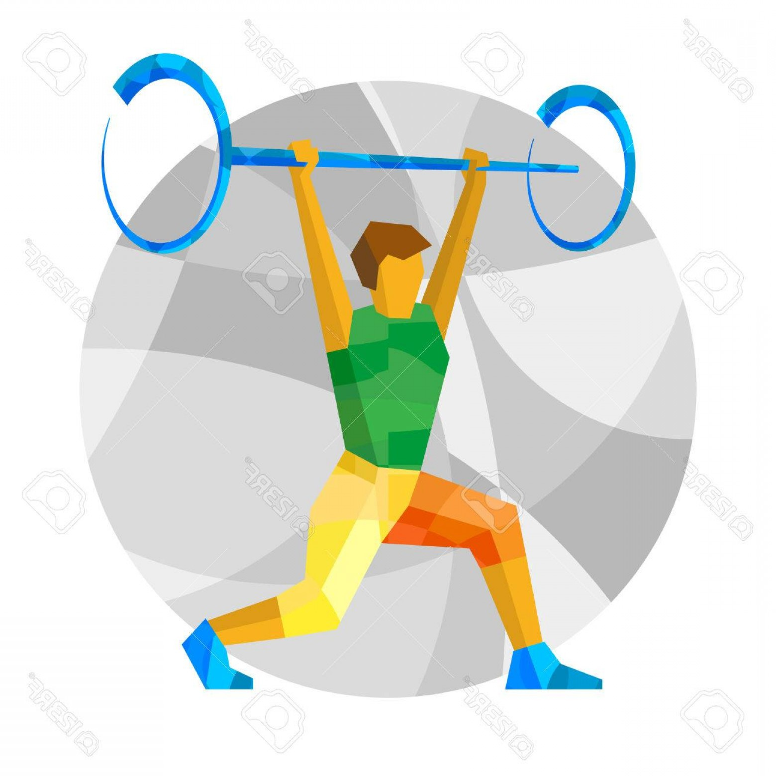1560x1560 Photostock Vector Weightlifter With Abstract Patterns Flat Athlete