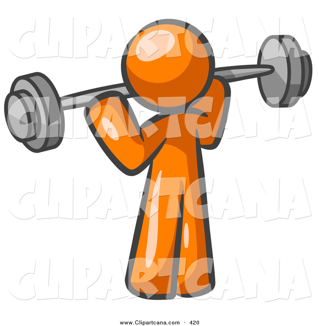 1024x1044 Vector Clip Art Of A Shiny Orange Man Lifting A Barbell While