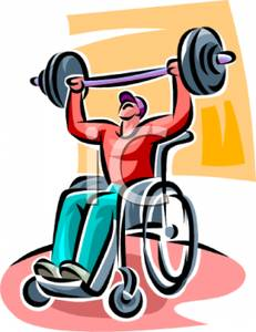 231x300 A Man Sitting In A Wheelchair Lifting Weights Clip Art Image