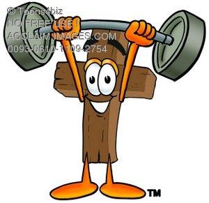 300x291 A Wooden Cross Cartoon Character Lifting Weights