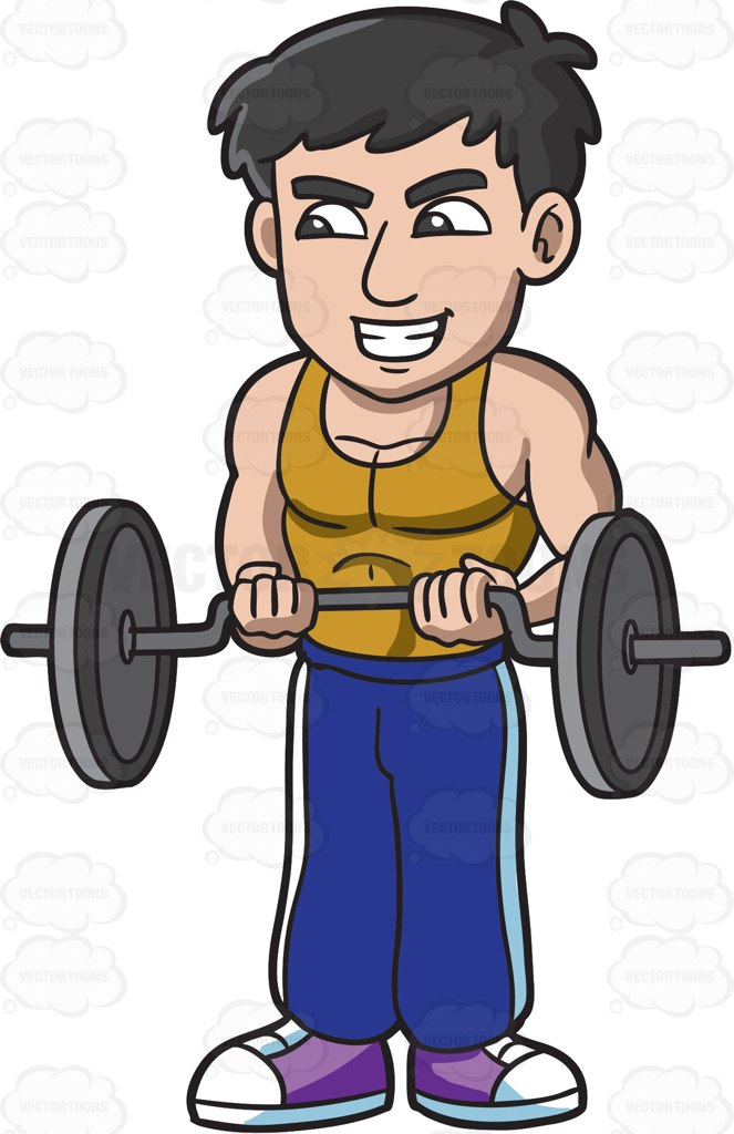 663x1024 A Man Working Out By Lifting Weights Cartoon Clipart Vector Toons
