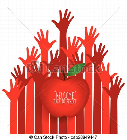 427x470 Welcome Back To School With Hands And Apple, Vector Eps Vector