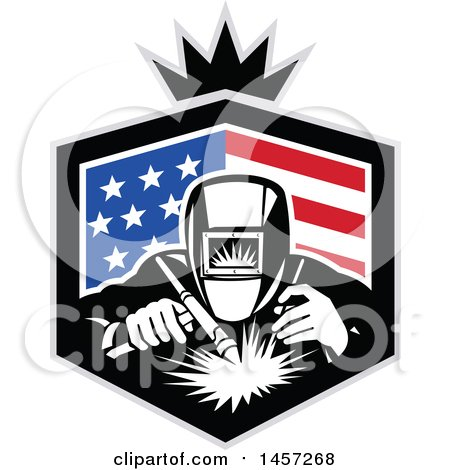 450x470 Clipart Of A Retro Welder Working In An American Flag Shield