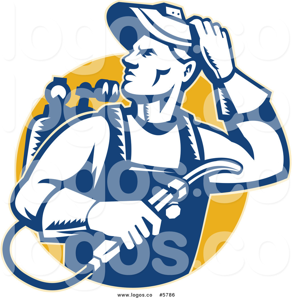 1024x1044 Royalty Free Vector Of A Logo Of A Welder Man Looking Over His